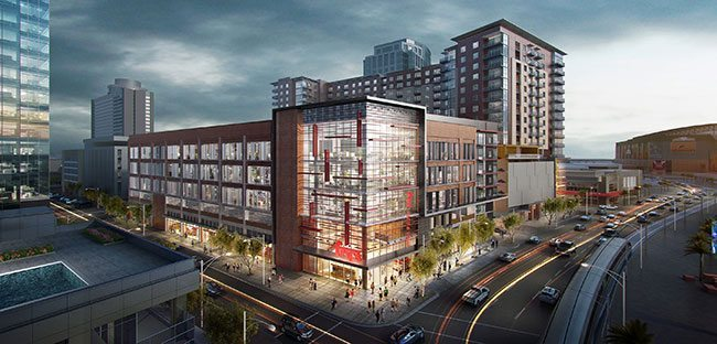 Block 23 will house the area's first grocery store, along with office and apartment spaces. (Rendering courtesy of RED Development)